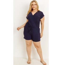 From A Small Town Drawstring Romper - Navy