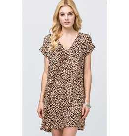I Wanna Dance Leopard Print V-Neck Dress - Brown