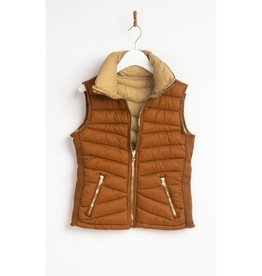 Sealed Secrets Reversiable Puffer Vest - Brown/Beige