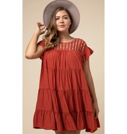 Head Out Scoop-Neck Tiered Dress - Rust