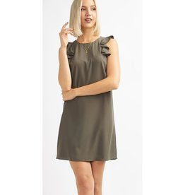 Better Off Without You Ruffle Sleeve Dress - Olive
