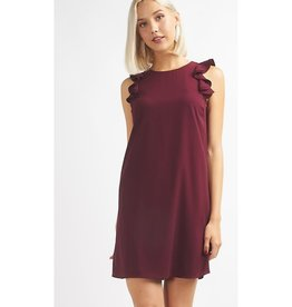 Better Off Without You Ruffle Sleeve Dress - Wine