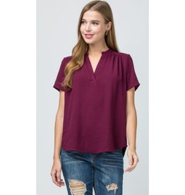 Move Forward V-Neck Placket Top - Burgundy