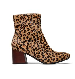 TOMS Emmy Leopard Print Chunk Heel Bootie - Desert Tan
