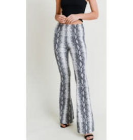 Don't Hide Your Heart Snake Print Flare Pants - Grey