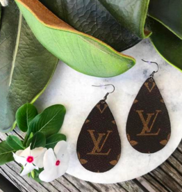 Upcycled LV Leather Teardrop Earrings