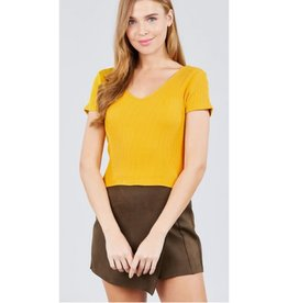 See It In Your Eyes Double V-Neck Ribbed Top - Mustard