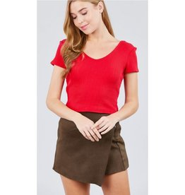 See It In Your Eyes Double V-Neck Ribbed Top - Red