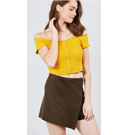 Seemed So Happy Off The Shoulder Ribbed Top - Mustard