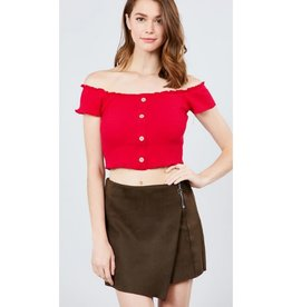 Seemed So Happy Off The Shoulder Ribbed Top - Red