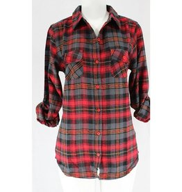 All The Comfort Plaid Flannel - Red/Grey