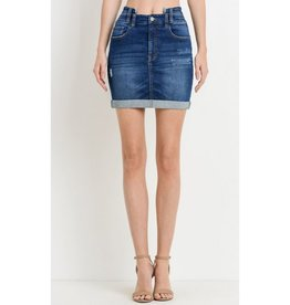 I Give In High Waist Vintage Denim Skirt - Dark Wash