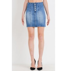 Hear Me Calling High Waist Button Down Denim Skirt - Medium Wash