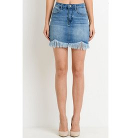 Eyes On Me Frayed Denim Skirt - Medium Wash