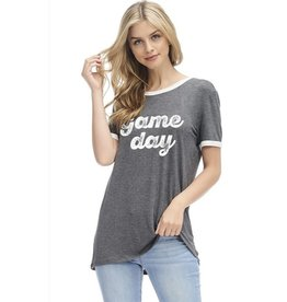 Game Day Graphic Top - Charcoal