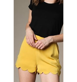Leave This Town Scalloped Hem Shorts - Canary