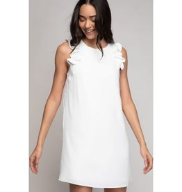 Better Off Without You Ruffle Sleeve Dress - Off White