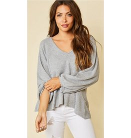 Not Who You've Been Solid Waffle Knit Top - H.Grey