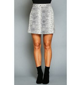 My Obsession Animal Print Denim Mini Skirt - Charcoal/Cream