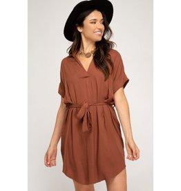 Every Little Thing About Love Waist Sash Shirt Dress - Cinnamon