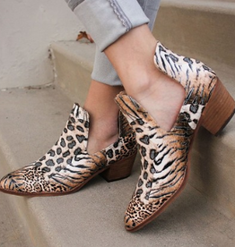 Off The Record Animal Print Ankle Booties - Leopard Natural
