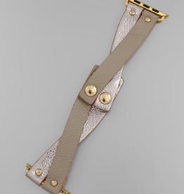 Crisscross Smart Watchband - Taupe/Pewter