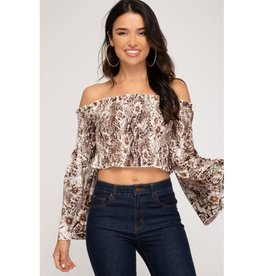 Where Your Love Leads Bell Sleeve Smocked Crop Top - Brown