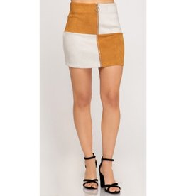 Loving You Is Fun Color Block Suede Front Zipper Skirt - Caramel