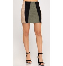 No Competition Color Block Suede Skirt - Olive