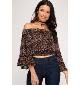 Just One Look Off The Shoulder Animal Print Top - Camel