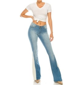 After The Night Pocket Flared With White Contrast Jeans - Medium Blue