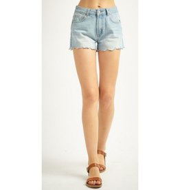 Flying High Denim Scalloped Hem Short - L. Denim