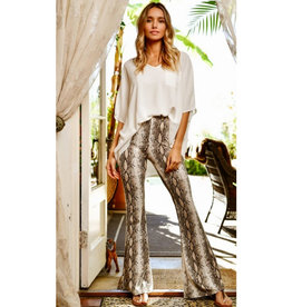 Don't Hide Your Heart Snake Print Flare Pants - Taupe