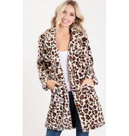 The Perfect Idea Faux Fur Leopard Coat - Cream
