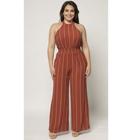 Always And Forever Striped Halter Jumpsuit - Rust