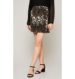 Dream Girl Leopard Denim Zip-Up Mini Skirt - Brown/Taupe