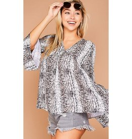 Truth Of It Animal Print Ruffle Bell Sleeved Top - Brown/Nude