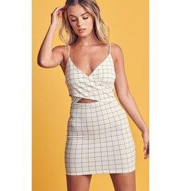 Don't Forget Grid Print Mini Dress - Ivory