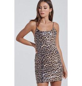Slip Into This Leopard Print Leather Bodycon Mini Dress - Tan