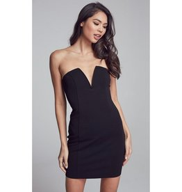 Everything For You Strapless V-Cut Bodycon Mini Dress - Black