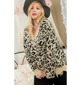 Always Been You Leopard Print Frayed V-Neck Sweater - Black