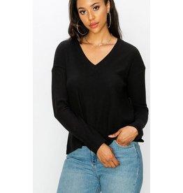 Steady As She Goes V-Neck Pullover - Black