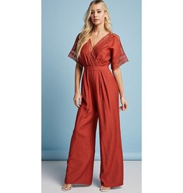 A One Time Thing Crochet Wrapped Jumpsuit - Rust