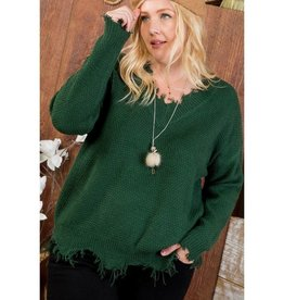 Secret's Out Frayed V-Neck Sweater - Hunter Green