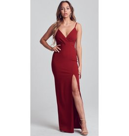 All This Time Lace Back Slit Maxi Dress - Ruby