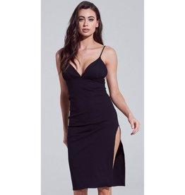 Nothing On You Side Slit Cami Bodycon Midi Dress - Black