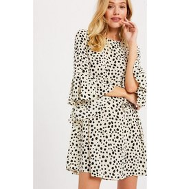 More Of It Dalmation Print Ruffle Dress - Cream