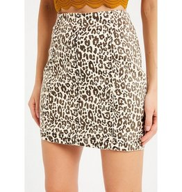 Taking Sides Leopard Mini Skirt - Taupe