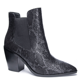CHINESE LAUNDRY Utah Snake Heeled Bootie - Black