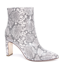 CHINESE LAUNDRY Erin Snakeskin Heeled Bootie - Cream/Black